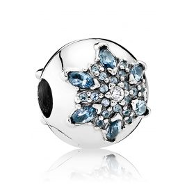 Pandora 791997NMB Clip-Element Eisblaue Schneeflocke