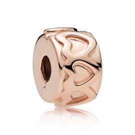 Pandora 781978 Clip-Element Row of Hearts Rosé