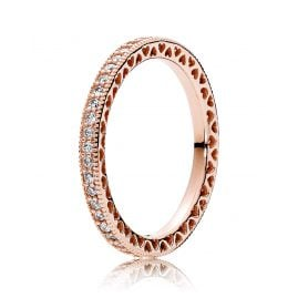 Pandora 180963CZ Ring for Ladies Eternal Hearts Rose