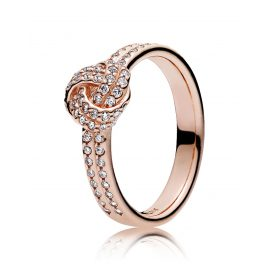 Pandora 180997CZ Ladies Ring Sparkling Love Knot Rose