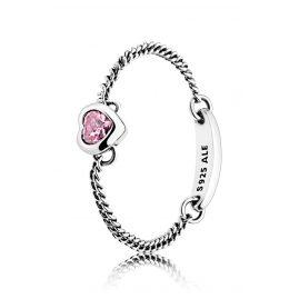 Pandora 197191PCZ Damenring Lebendiges Herz Pink