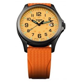 traser H3 107423 Mens Watch P67 Officer Pro Gun Metal Orange Diver Strap