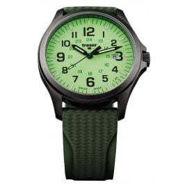 traser H3 107424 Mens Watch P67 Officer Pro Gun Metal Lime Diver Strap