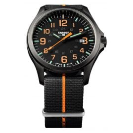 traser H3 107425 Mens Watch P67 Officer Pro Gun Metal Black/Orange