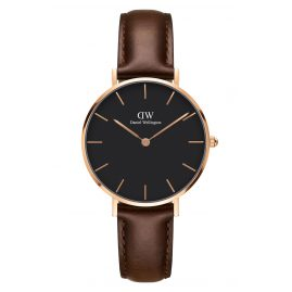 Daniel Wellington DW00100165 Ladies Watch Classic Petite Bristol Black/Rosegold 32 mm