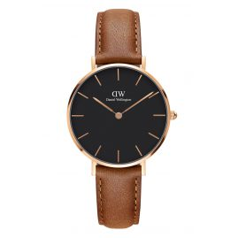 Daniel Wellington DW00100166 Ladies Watch Classic Petite Durham Black/Rosegold 32 mm