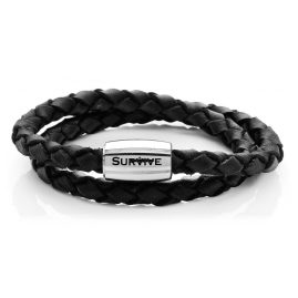 Survive 730017 Mens Leather Bracelet Black