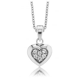 Herzengel HEN-HEART02-ZI Silber Kinder-Halskette Herz