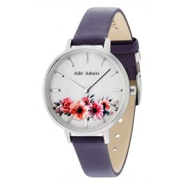 Julie Julsen JJW20SL-6 Damenarmbanduhr Flower Silver Purple