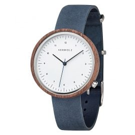 Kerbholz Wooden Mens Watch Heinrich Walnut Slate Blue