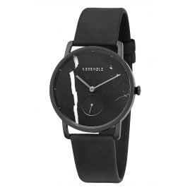 Kerbholz Damen-Armbanduhr Frida Schwarzer Marmor/Nachtschwarz
