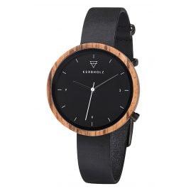 Kerbholz Damen-Armbanduhr Hilde Zebranoholz/Nachtschwarz