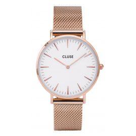 Cluse CL18112 La Bohème Mesh Rose Gold/White Armbanduhr