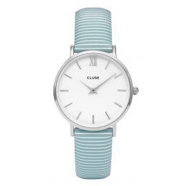 Cluse CL30028 Minuit Silver White/Blue Stripes Damenuhr