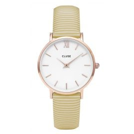 Cluse CL30032 Minuit Rose Gold White/Yellow Stripes