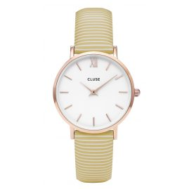 Cluse CL30032 Minuit Rose Gold White/Yellow Stripes Uhr