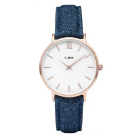 Cluse CL30029 Minuit Rose Gold White/Blue Denim Damenuhr