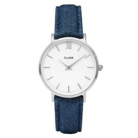 Cluse CL30030 Minuit Silver White/Blue Denim Damenuhr