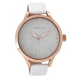 Oozoo C8900 Damenuhr mit Lederarmband Weiß-Rosé 43 mm