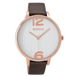 Oozoo C8929 Damenuhr mit Lederband Silbergrau/Weiß 42 mm