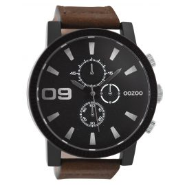 Oozoo C9033 Mens Wrist Watch with Chrono Look Brown/Black 50 mm