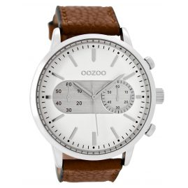 Oozoo C9055 Herrenuhr im Chrono-Look Braun/Weiß 49 mm