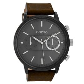 Oozoo C9057 Mens Watch with Chrono Look Brown/Dark Grey 49 mm