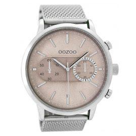 Oozoo C9071 Herrenuhr im Chrono-Look Silberfarben/Taupe 49 mm
