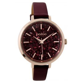 Oozoo C9221 Damenuhr Glitter Bordeaux 39 mm