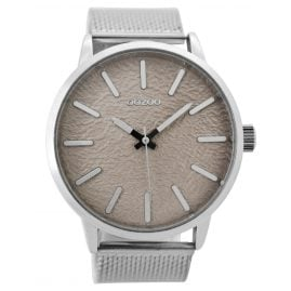 Oozoo C9230 Mens Watch Silver/Taupe 49 mm