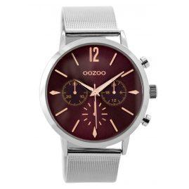 Oozoo C9466 Damenuhr im Chrono-Look silberfarben/burgund 40 mm