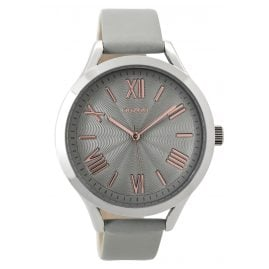 Oozoo C9477 Ladies Watch with Leather Strap silver/stonegrey 42 mm