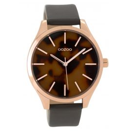 Oozoo C9504 Damenuhr mit Lederband roségoldfarben/grau 42 mm