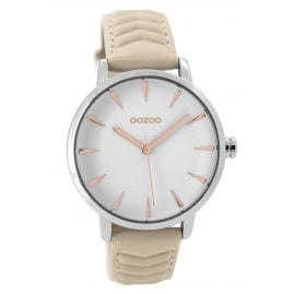 Oozoo C9505 Ladies Watch with Leather Strap silver/beige 40 mm