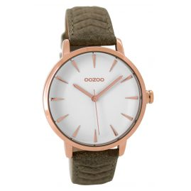 Oozoo C9509 Ladies Watch with Leather Strap rose/khaki 40 mm