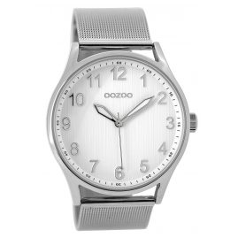Oozoo C9515 Watch with Mesh Strap silver/white 42 mm