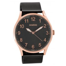 Oozoo C9518 Armbanduhr mit Milanaiseband rosé/schwarz 42 mm