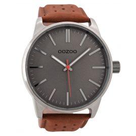 Oozoo C9421 Herrenuhr Grau/Cognac 48 mm