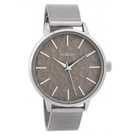 Oozoo C9571 Ladies' Wristwatch with Mesh Band Silver Tone/Grey 42 mm