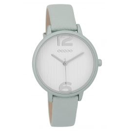 Oozoo C9577 Ladies' Wristwatch with Leather Strap Aqua-Grey/White 36 mm