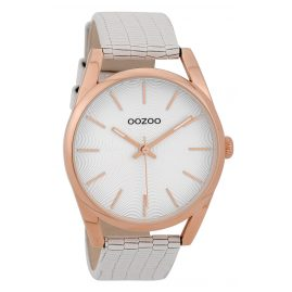 Oozoo C9581 Wristwatch with Leather Strap White 42 mm