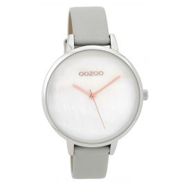 Oozoo C9585 Wristwatch with Leather Strap Light Grey/White 40 mm
