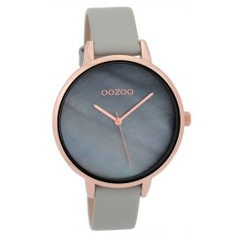 Oozoo C9586 Wristwatch with Leather Strap Light Grey/Blue-Grey 40 mm