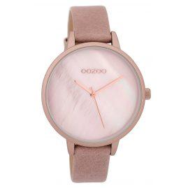 Oozoo C9588 Armbanduhr mit Lederband Puderrosa/Weiß 40 mm
