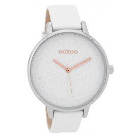 Oozoo C9590 Damenuhr mit Lederband Weiß 44 mm