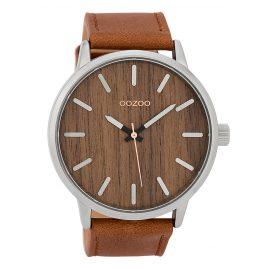 Oozoo C9245 Herrenuhr mit Holz-Zifferblatt Cognac/Eiche XL 48,5 mm