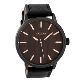 Oozoo C9249 Mens Watch Wood Dial Black/Nut XL 48.5 mm