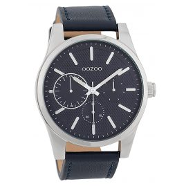 Oozoo C9618 Herrenuhr 45 mm Lederband Blau