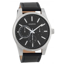 Oozoo C9619 Men's Watch 45 mm Leather Strap Black
