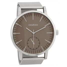 Oozoo C9621 Herrenuhr 48 mm Graubraun/Silberfarben